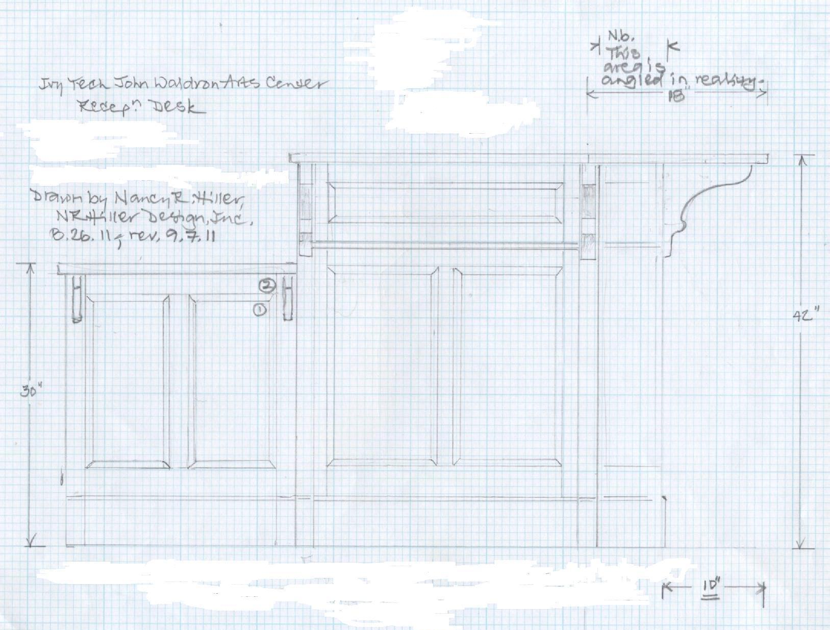 reception desk construction drawings