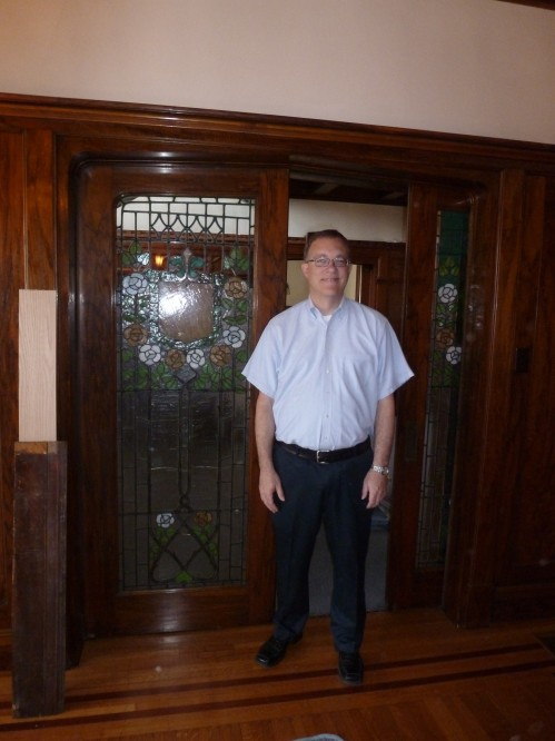 Mark Dollase, vice president of Indiana Landmarks, with the pocket doors