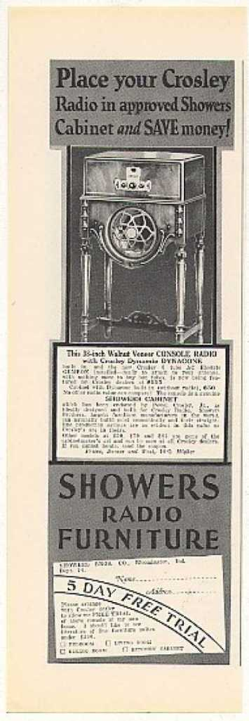 This magazine advertisement shows another popular Showers product: fancy cabinets for radios.