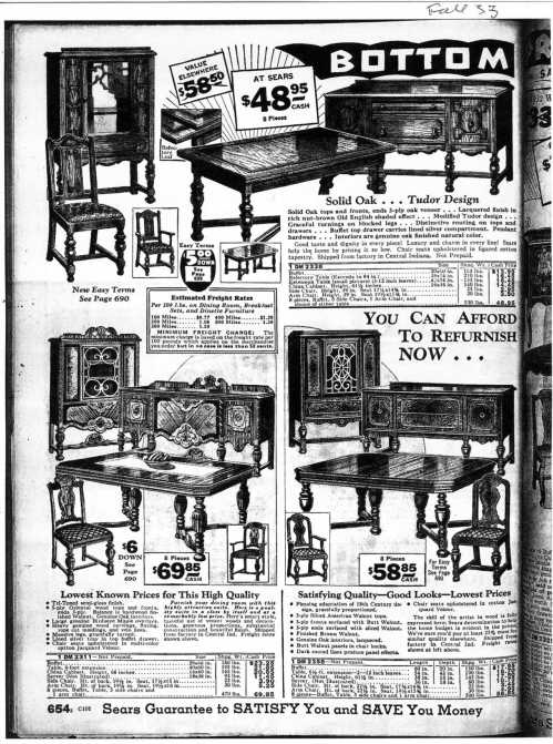 This page from a 1933 edition of the Sears & Roebuck catalog shows the china cabinet pictured above. This model and the other pieces in the suite were sold for several years, into the '30s.