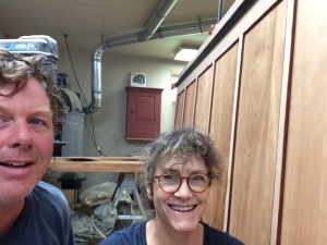 John Dehner and I after the traumatic glue up of the 9' x 5' panel with seven sections