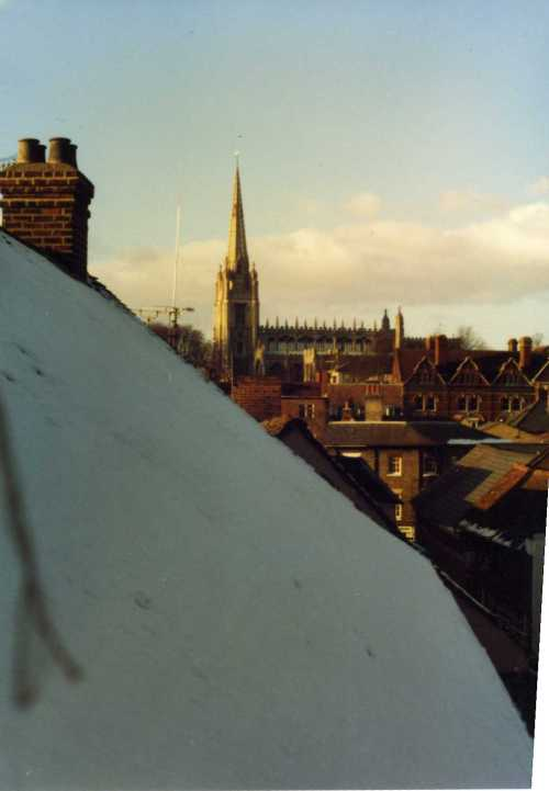 Saffron Walden view over rooftops to cathedral