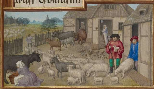 https://commons.wikimedia.org/wiki/File:Workshop_of_the_Master_of_James_IV_of_Scotland_(Flemish,_before_1465_-_about_1541)_-_Farm_Animals,_Milking,_and_Buttermaking;_Zodiacal_Sign_of_Taurus_detail.jpg