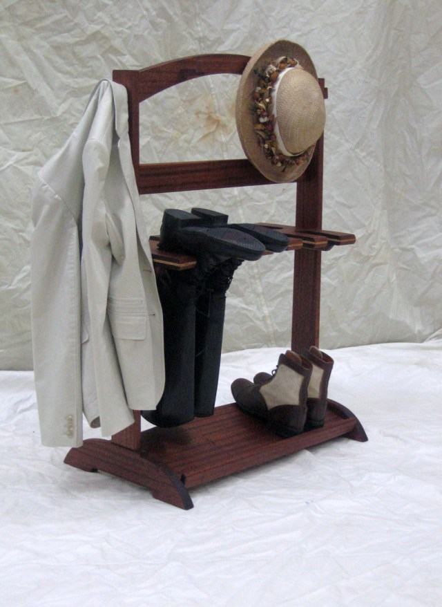 boot rack with jacket and hat